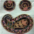 Rare Benson Beaded Brooch and Earring Set Card Beading Kit Irridescent Paisley