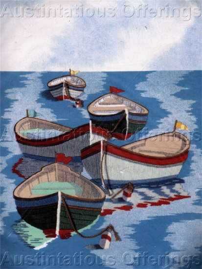Summer Boats on Water Vintage Poster Crewel Embroidery Kit