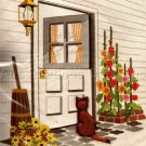 Rare Jennings Cat on Family Porch Crewel Embroidery Kit Welcome Back