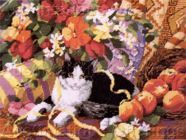 Rare Nancy Rossi Black White Cat Needlepoint Kit Still Life Floral