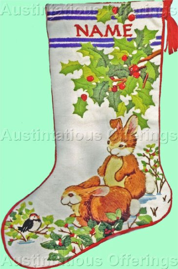 Rare Baatz Bunnies Crewel Embroidery Stocking Kit Holly Boughs