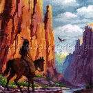 Rare Southwest Red Rock Canyon Rider Needlepoint Kit Native American and Horse