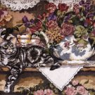 Rare Debra Jordan Meyer Needlepoint Kit  Silver Tabby Cat Resting on Floral Shelf