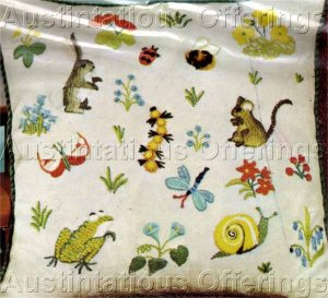 Rare Erica Wilson Woodland Critters Crewel Embroidery Kit Frog, Bunny, Snail & More!