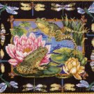 RARE BARBARA BAATZ FROG DRAGONFLY NEEDLEPOINT PILLOW KIT LILYPADS