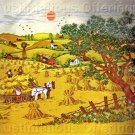 RARE  SUMMER HARVEST FOLK ART ADELE VERES CREWEL EMBROIDERY KIT RUSTIC COUNTRY DAY REAPERS