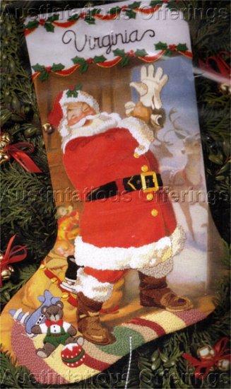 Rare Sundblom Hallmark Santa Crewel Embroidery Stocking