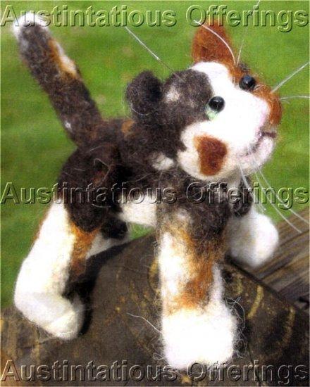 CALICO CAT NEEDLE FELTING CRITTER KIT MISS KALI CAT ALLYN AUSTIN FELTED ANIMALS