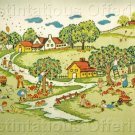 RARE  SUMMER  HARVEST FOLK ART ADELE VERES CREWEL EMBROIDERY KIT APPLE ORCHARD