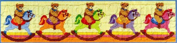 TEDDY BEAR CAVALRY  LONGSTITCH NEEDLEPOINT KIT ROCKING HORSE BEARS