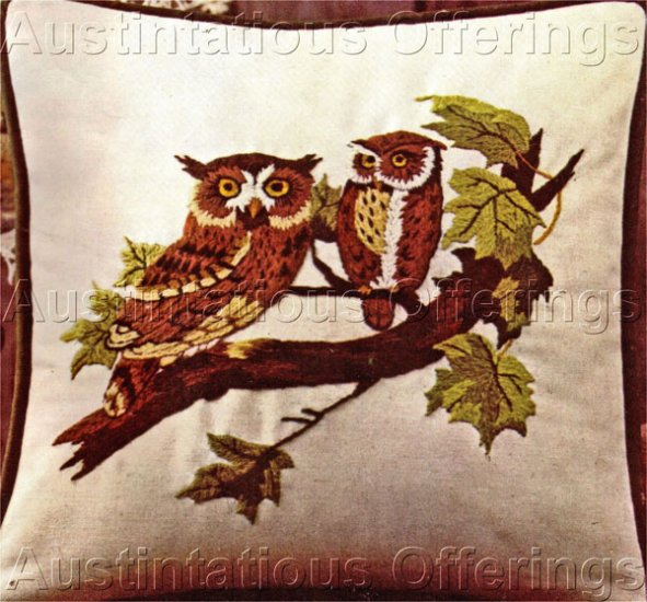 Owl Pair Crewel Embroidery Kit Birds of Prey Screech Owls For Beginning or Experienced Stitcher