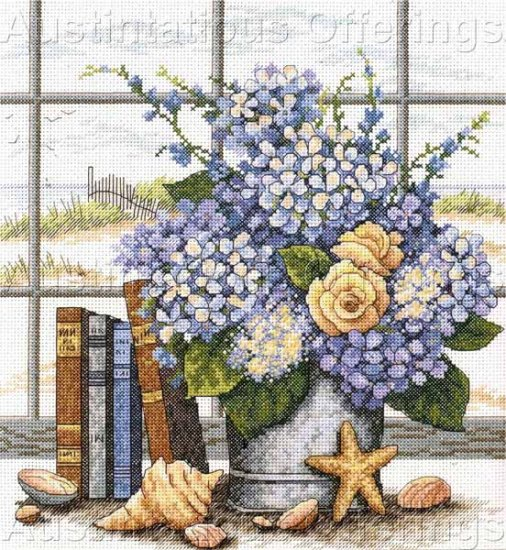 Barbara Mock Beachside Bouquet Cross Stitch Kit Hydrangeas