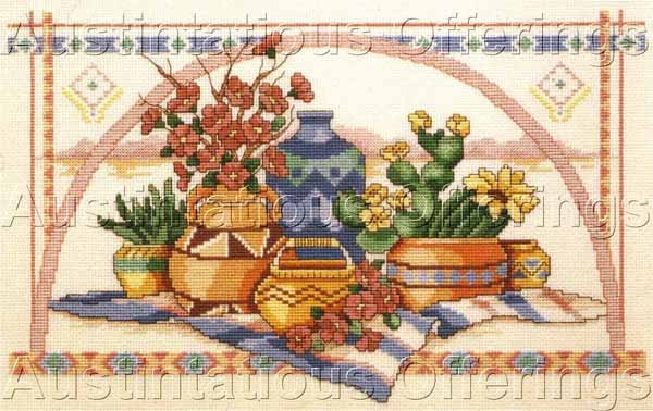Native American Pottery Still Life Counted Cross Stitch Kit Ann Craig Southwest
