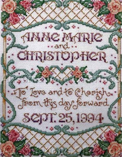 Sandy Orton Floral Wedding Sampler Counted Cross Stitch Kit Love Cherish