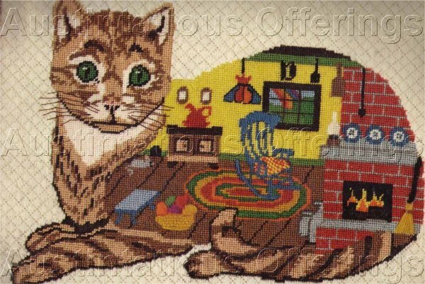TIM GLENN CAT FIREPLACE & ROCKER TEXTURED NEEDLEPOINT KIT HIDDEN IMAGE