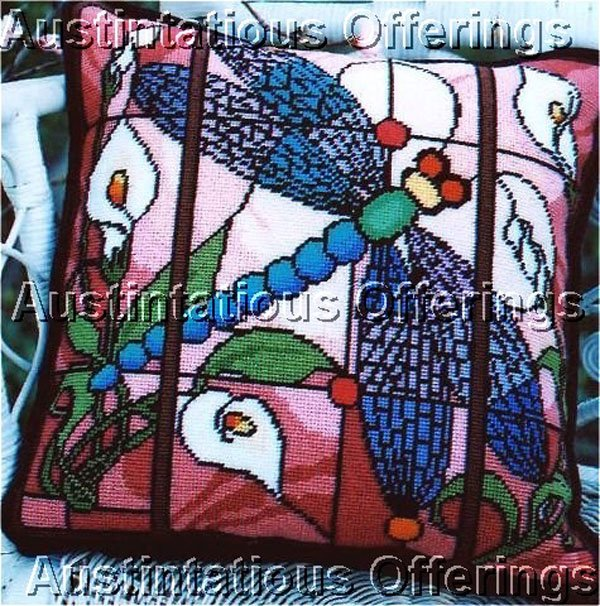 BARRANI STAINED GLASS DRAGONFLY & LILIES NEEDLEPOINT PILLOW KIT