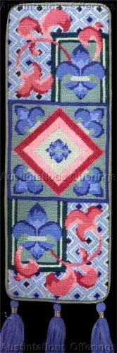 BRIGHT BLUE  REGAL FLEUR DE LIS NEEDLEPOINT BELLPULL KIT NANCY KING