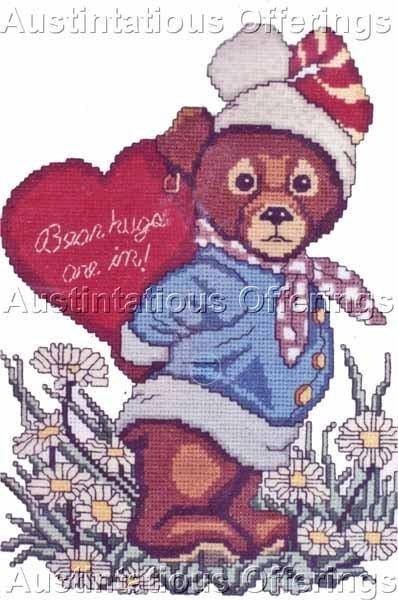 ADORABLE TEDDY BEAR VALENTINE CROSS STITCH KIT BEAR HUGS