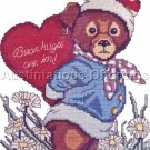 ADORABLE TEDDY BEAR VALENTINE CROSS STITCH KIT BEAR HUGS
