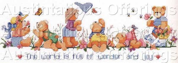 Adventurous Teddy Bears Cross Stitch Kit Gillum Butterflies