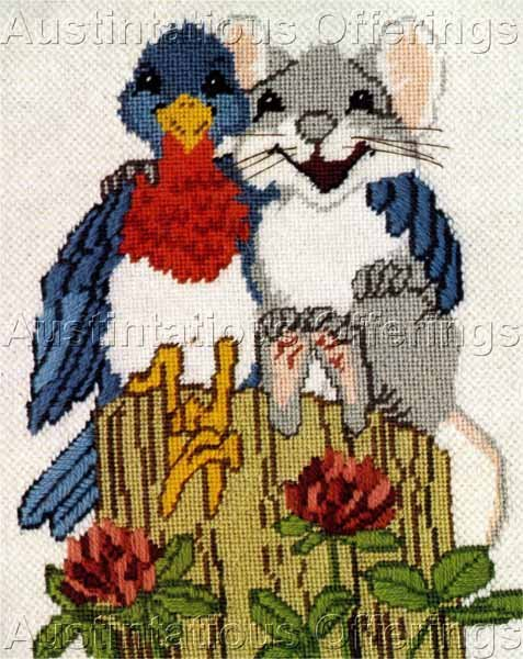 Rare Powell Bluebird Mouse Textured Needlepoint Kit Peep Squeak