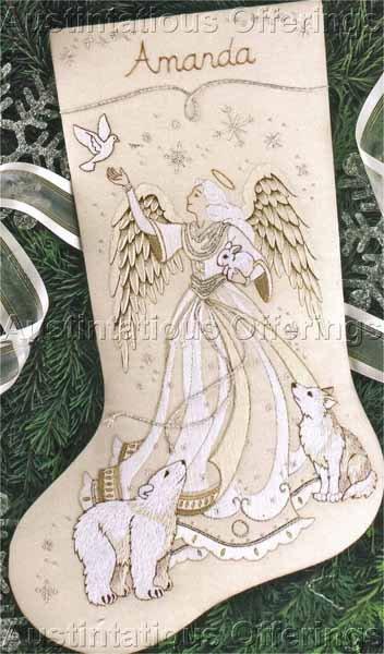RARE IVORY TONES ANGEL & ANIMALS CREWEL EMBROIDERY STOCKING KIT