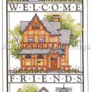 Painted Ladies Welcome Friends & Family Stamped Cross Stitch Kit Victorian Homes