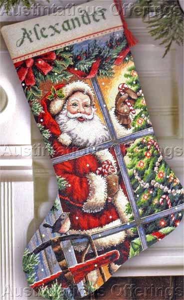 Rare Christmas Window View Cross Stitch Stocking Kit Donna Race Santa Claus