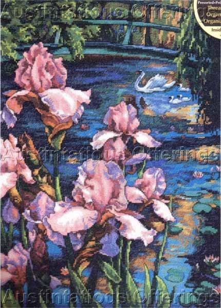 Weberbauer Spring Iris Pond Cross Stitch Kit Swan and Cygnets
