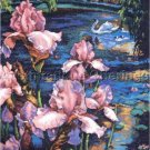 Weberbauer Spring Iris Pond Cross Stitch Kit Swan and Cygnets