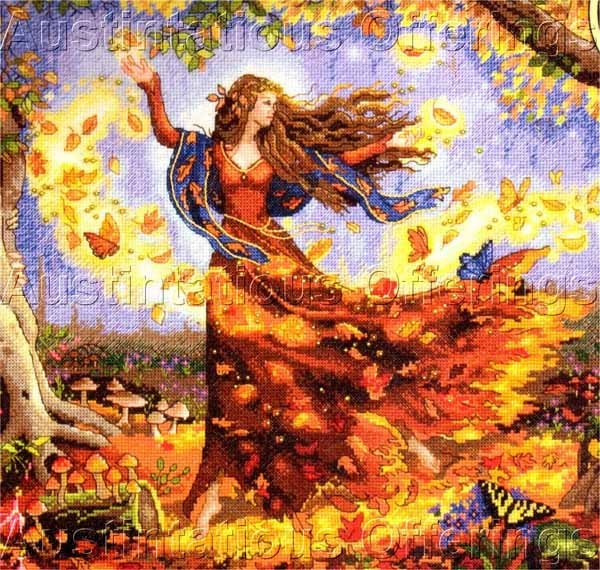 Rare Sanderson Fairy of  Autumn Cross Stitch Kit Fall Leaves Gold Collection