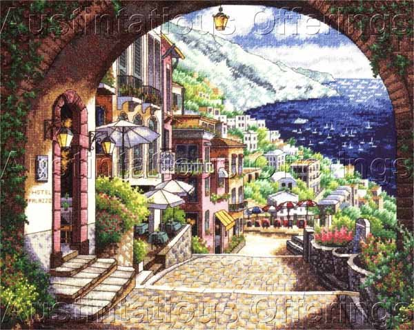 Park Mediterranian View Cross Stitch Kit Italian Coastal View