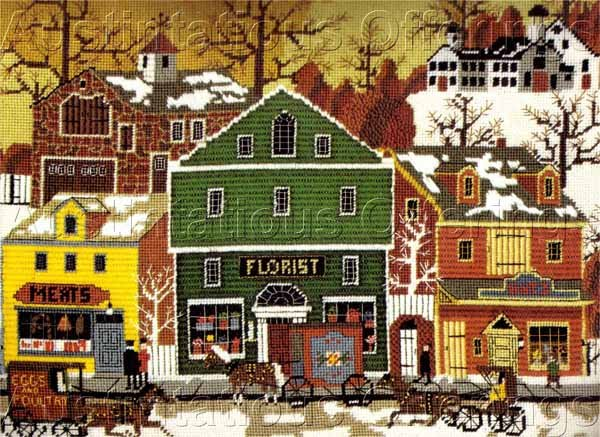 RARE WYSOCKI VILLAGE FOLK ART NEEDLEPOINT KIT MAIN STREET FLORIST HATS