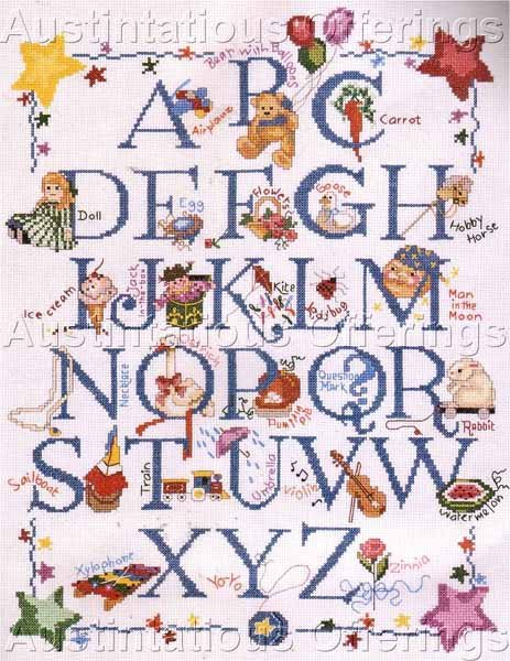 Rare Rose Kennedy Alphabet Sampler Counted Cross Stitch Kits ABC Childhood Fun