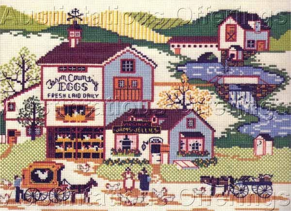 HARD TO FIND CHARLES WYSOCKI FOLK ART FARM COUNTRY VILLAGE CROSS STITCH KIT MILL STREAM