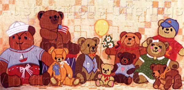 Teddy Bear Family Longstitch Crewel Embroidery Kit Suitable for Beginners
