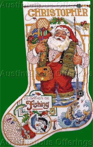 Rare Gillum Christmas Angler Santa Cross Stitch Stocking Kit Fisherman Right or Left Toe