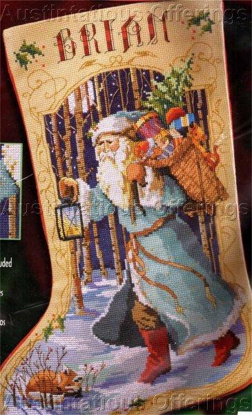 Rare Left / Right Toe Stocking Cross Stitch Kit Blue Robe Woodland Santa Beads