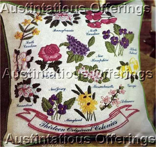 Colonial Sampler State Flowers Crewel Embroidery Kit For Beginning or Experienced Stitcher