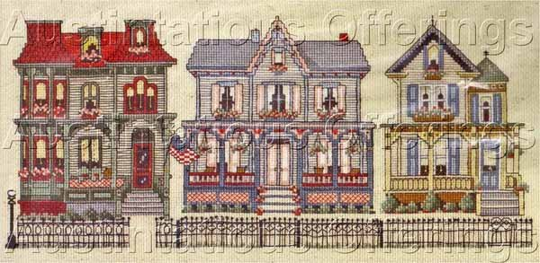 Terrie Lee Steinmeyer Victorian Street Cross Stitch Kit House Row