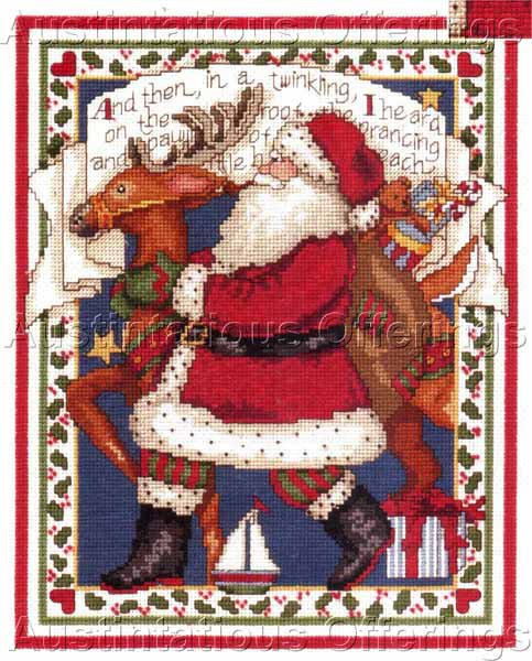 Rare Susan Winget Santa Claus and Reindeer Cross Stitch Kit Night Before Christmas Verse