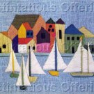 Mediterranean Sailing Vacation Crewel Embroidery Kit Harbor Seaside Village Sailboats