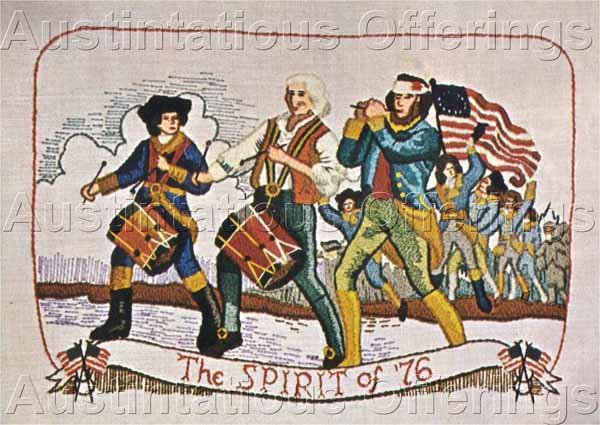 Rare Revolutionary War Drum and Fife Painting Crewel Embroidery Kit Colonial Patriots Marching