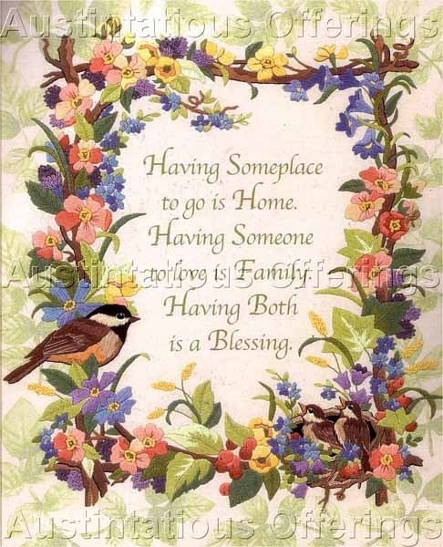 Rare Karen Avery Home Family Blessing Crewel Embroidery Kit Chickadee Floral