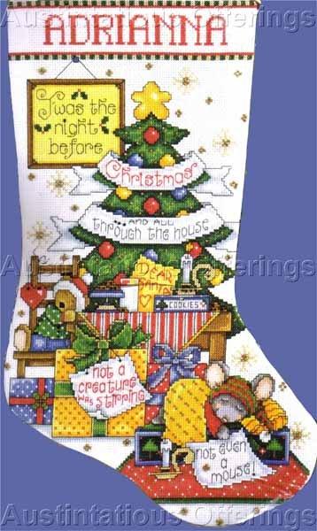 Joan Elliott Christmas Mouse Counted Cross Stitch Stocking Kit