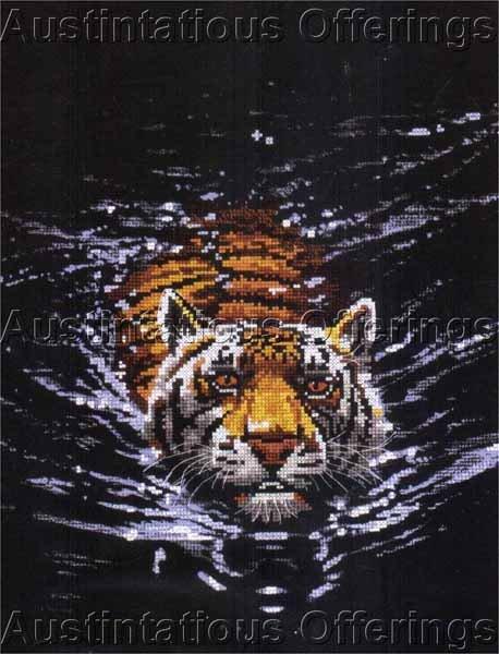 Rare Jackson Big Cat Midnight Predator No Count Cross Stitch Kit Swimming Tiger