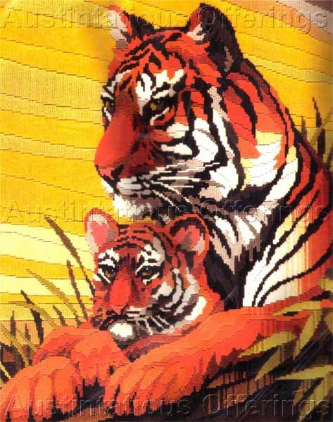 HARD TO FIND ROGER REINARDY WILDLIFE LONGSTITCH NEEDLEPOINT KIT TIGER AND CUB