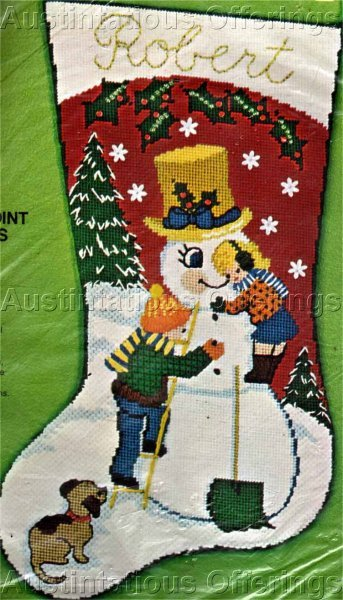 Rare Building a Snowman Gold Top Hat Textured Needlepoint Stocking Kit