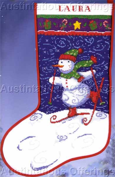 Schussing Snowman Counted Cross Stitch Stocking Kit Right or Left Toe Skiing Frosty Friend