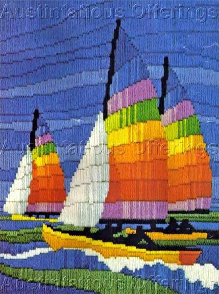 Rare Reinardy Rainbow Sail Boats Longstitch Needlepoint Kit Summer Sailing